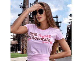 Dámske tričko Will Squat For Chocolate Light Pink - GymBeam.png